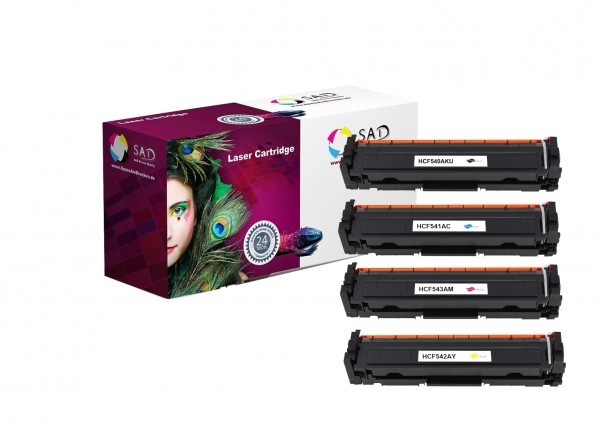 4er Pack SAD Premium Toner komp. zu HP 203A - CF540A + CF541A + CF542A + CF543A black cyan magenta y