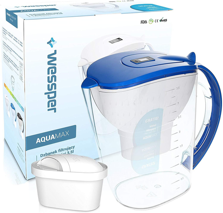 Wessper Wasserfilter AquaMax inkl. 1 Filterkartusche, kompatibel mit Brita Maxtra (Blau; 3.5L Fassun