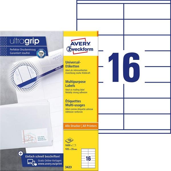 AVERY Zweckform 3423 Adressaufkleber (1.600 Klebeetiketten, 105x35mm auf A4, Papier matt, individuel
