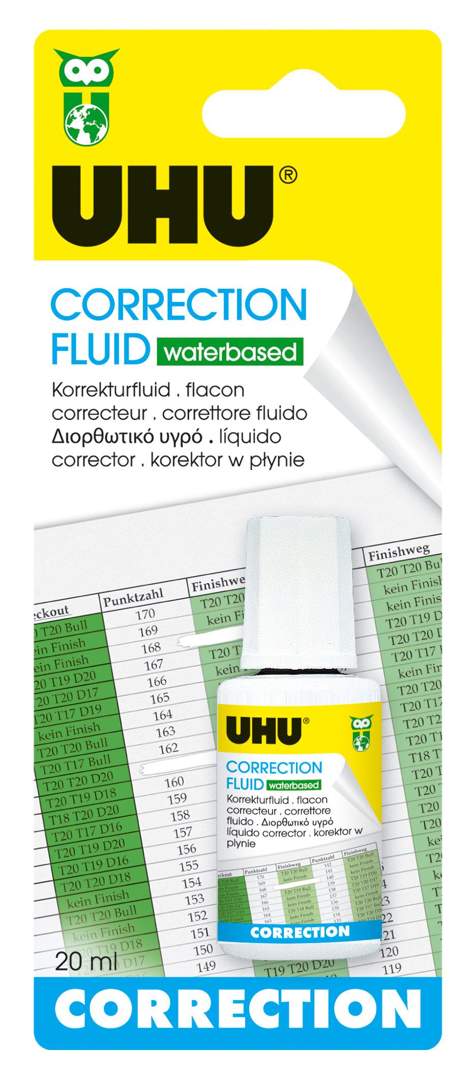 UHU Correction Fluid Korrektur-Fluid wasserbasiert, Infokarte 20ml