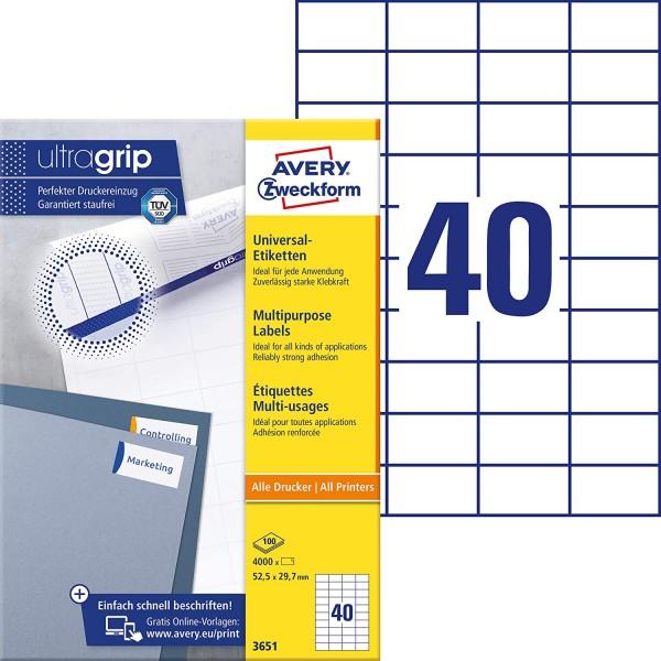 AVERY Zweckform 3651 Universal Etiketten (4.000 Klebeetiketten, 52,5x29,7mm auf A4, Papier matt, ind