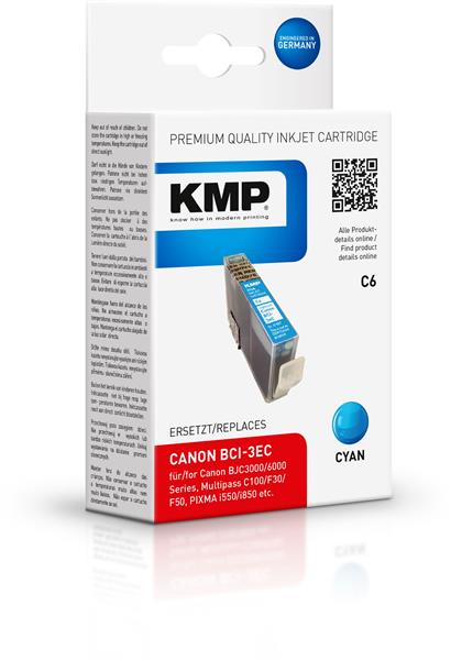 KMP Patrone C6 komp. zu BCI-3eC Canon BJC 3000 6000 cyan