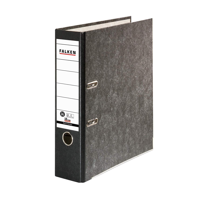 FALKEN Recycling Ordner DIN-A4, 8cm Wolkenmarmor schwarzer Rücken Ringordner Aktenordner Briefordner