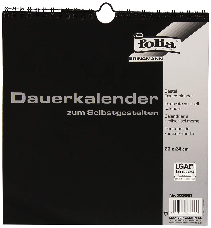 Folia Bastel-Dauerkalender 23690 - 23x24cm schwarz/silber
