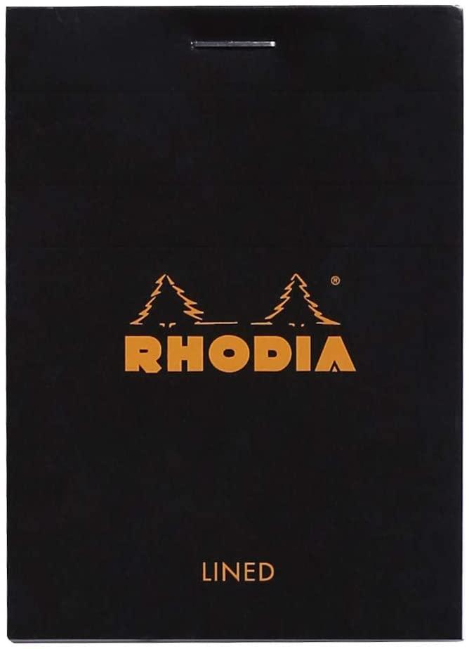 Rhodia 116009C Notizblock (DIN A7, 7,4 x 10,5 cm, geheftet, liniert, 80 Blatt) 5 Stück schwarz