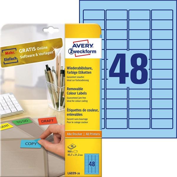 AVERY Zweckform L6039-20 Blaue Etiketten (960 Aufkleber, 45,7x21,2mm auf A4, wieder rückstandsfrei a