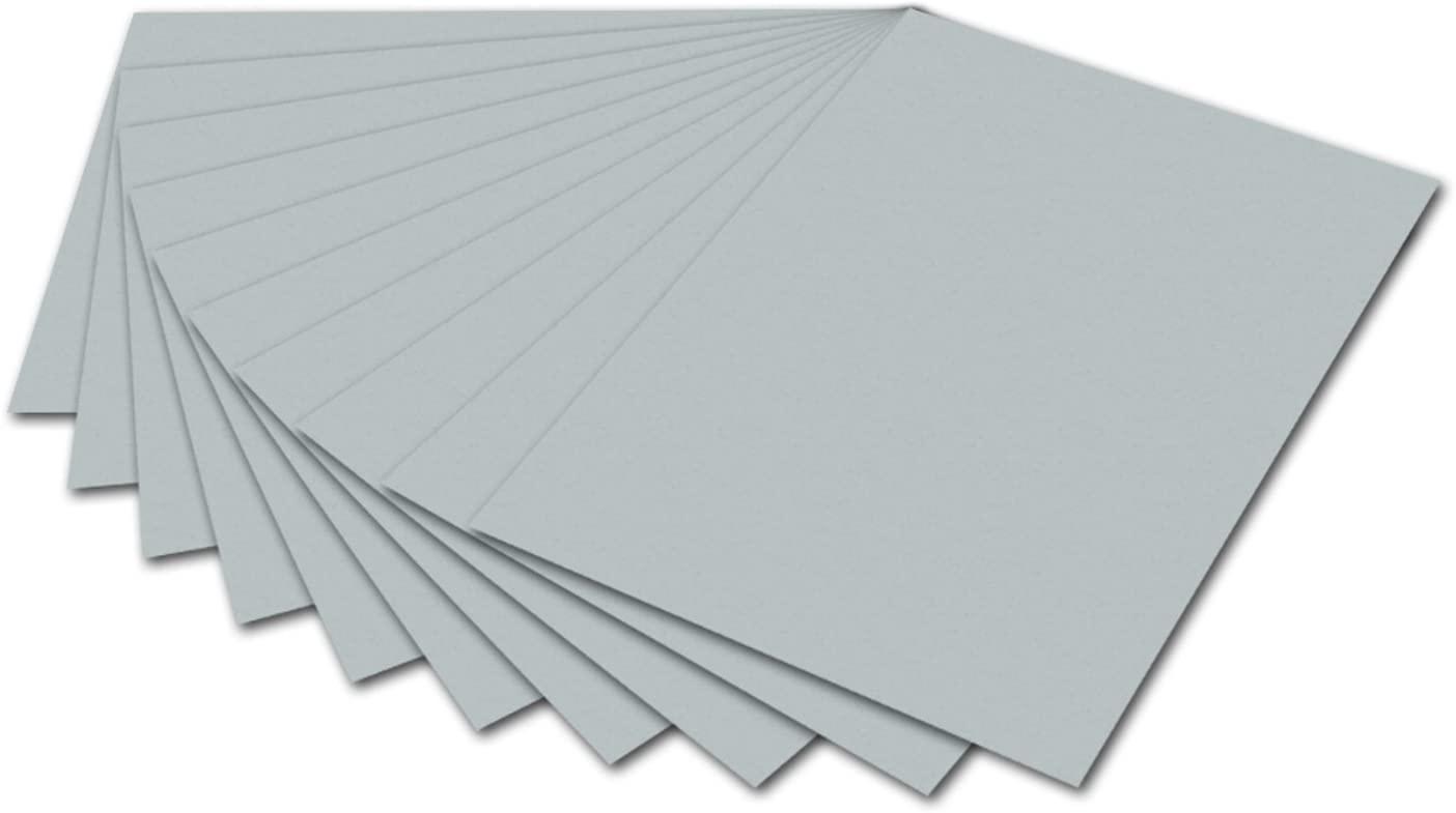 folia 6160 - Fotokarton Silber, 50 x 70 cm, 300 g/qm, 10 Bogen - zum Basteln und kreativen Gestalten