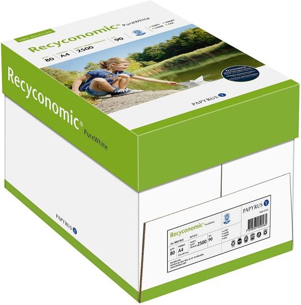 Papyrus 88031825 Recycling-Papier, Druckerpapier Recyconomic PureWhite 80 g/qm DIN-A4, 5x500 Blatt,