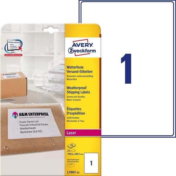 AVERY Zweckform L7997-25 Versand-Etiketten (A4, 25 Stück, 199,6 x 289,1 mm, 25 Blatt) weiß