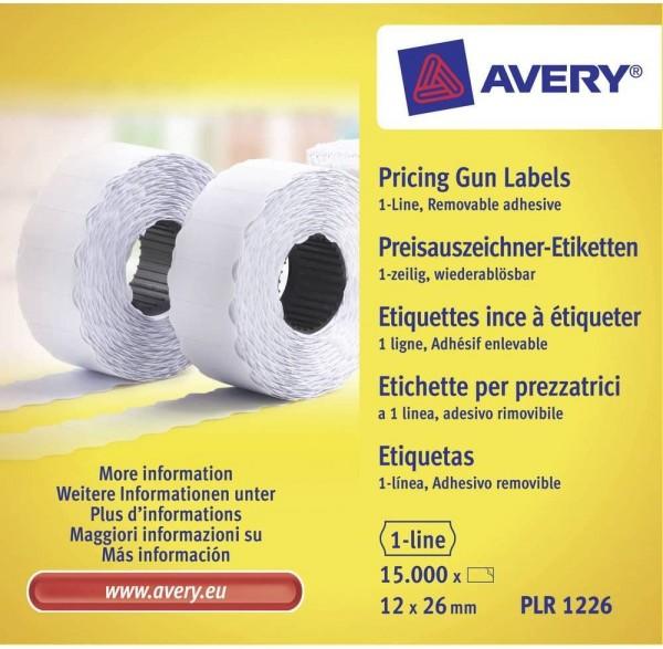 AVERY Zweckform PLR1226 Etikettenrolle (15.000 Stück, 1-zeilig, wiederablösbar, 12 x 26 mm) 10 Rolle