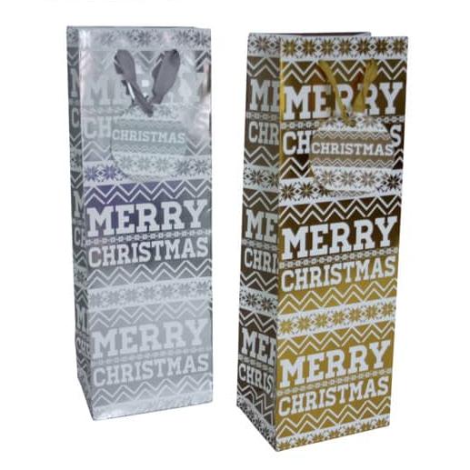 Weihnachtliche Flaschentragetasche Ornament - 12 Stück, sortiert, 12 x 36 x 9 cm