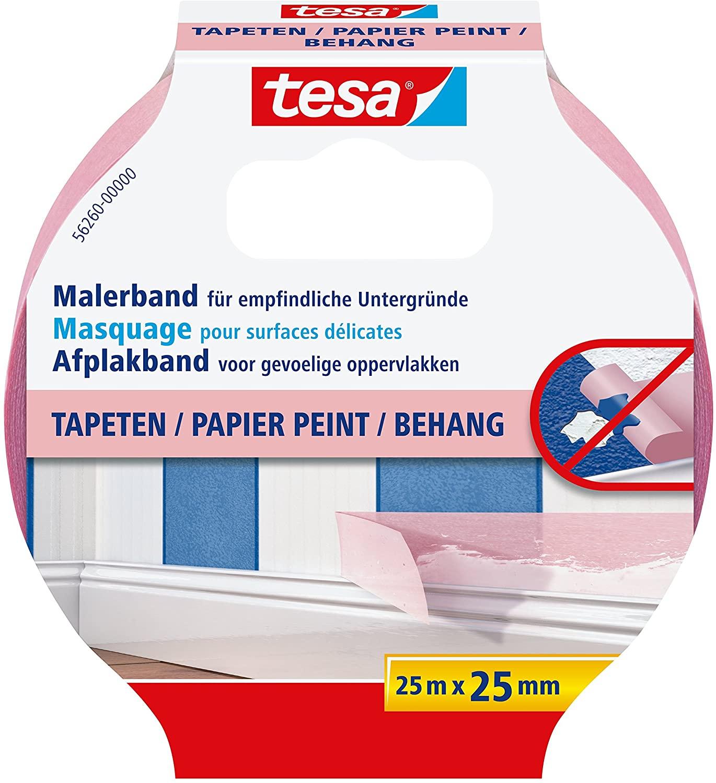 GP: 0,18 EUR/m tesa Malerband TAPETEN – Dünnes Abdeckband für präzises Abkleben – geeignet für empfi