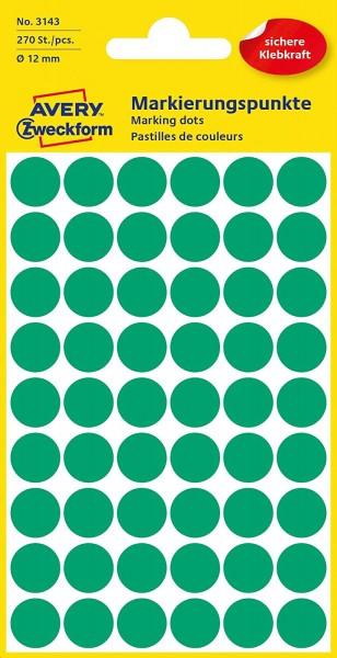 AVERY Zweckform 3143 selbstklebende Markierungspunkte 270 Stück (Ø12mm, Klebepunkte auf 5 Bogen, Pun