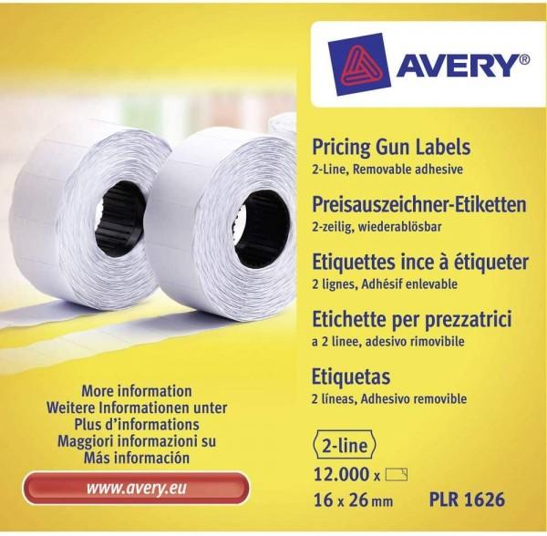 AVERY Zweckform PLR1626 Etikettenrolle (12.000 Stück, 2-zeilig, wiederablösbar, 16 x 26 mm) 10 Rolle