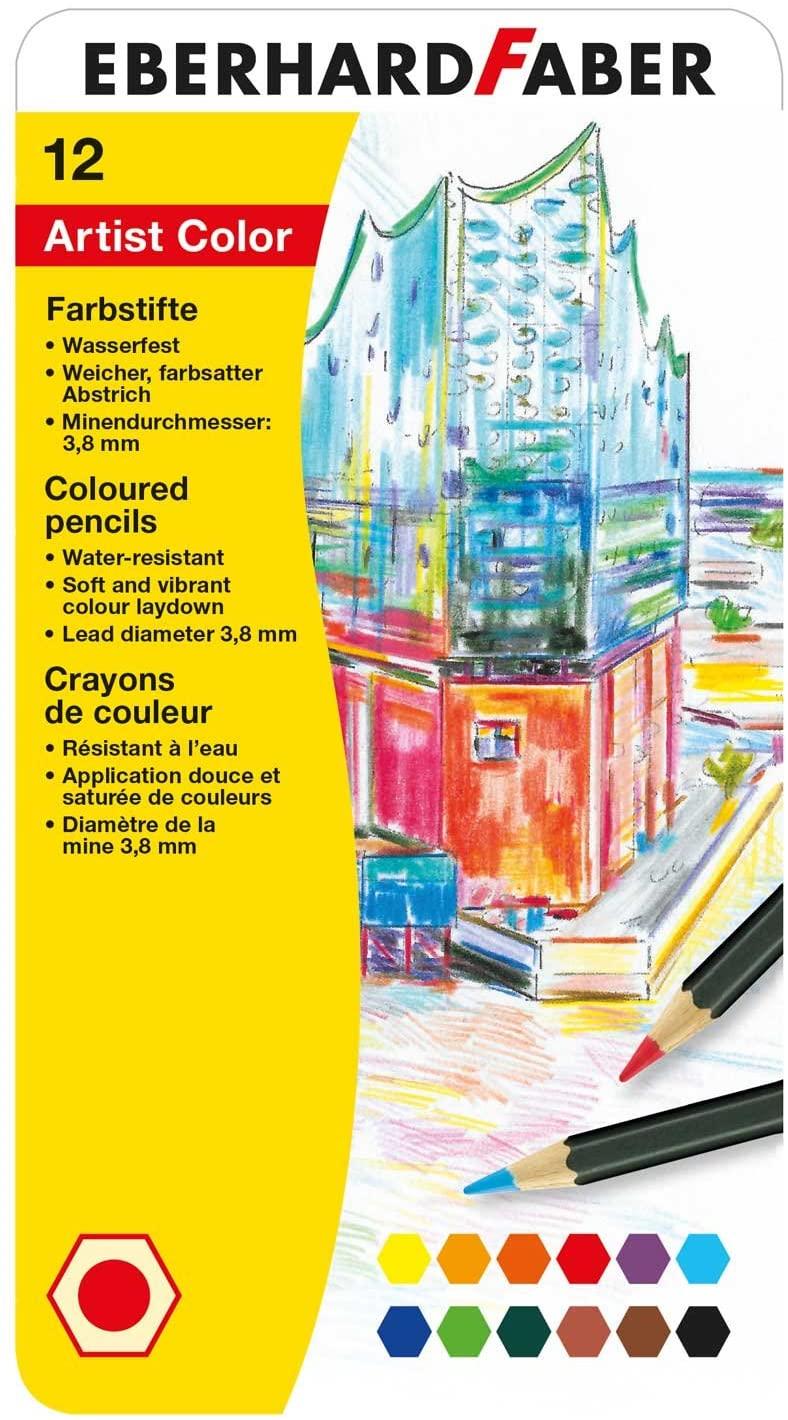 Eberhard Faber 516112 - Artist Color Farbstifte, Metalletui mit 12 Farben, hexagonale Form, für mode