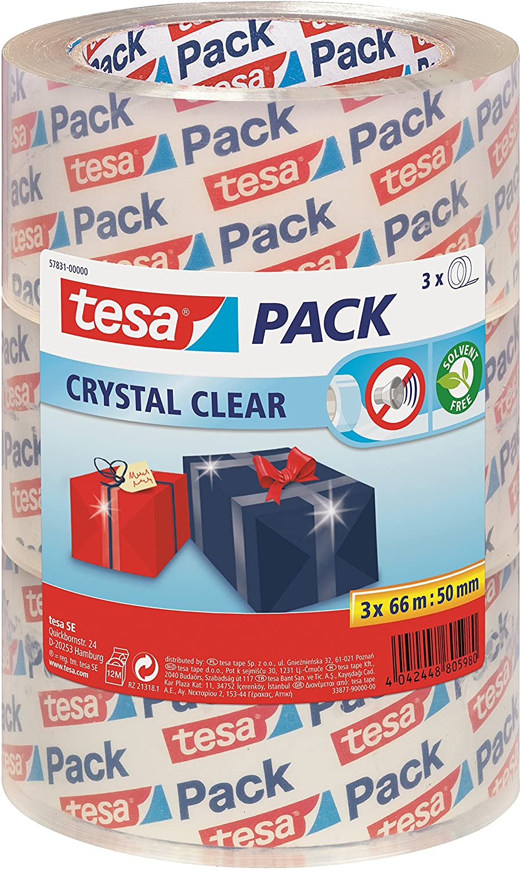 tesapack® Crystal Clear, transparente, 3 x 66mx50mm (57831)