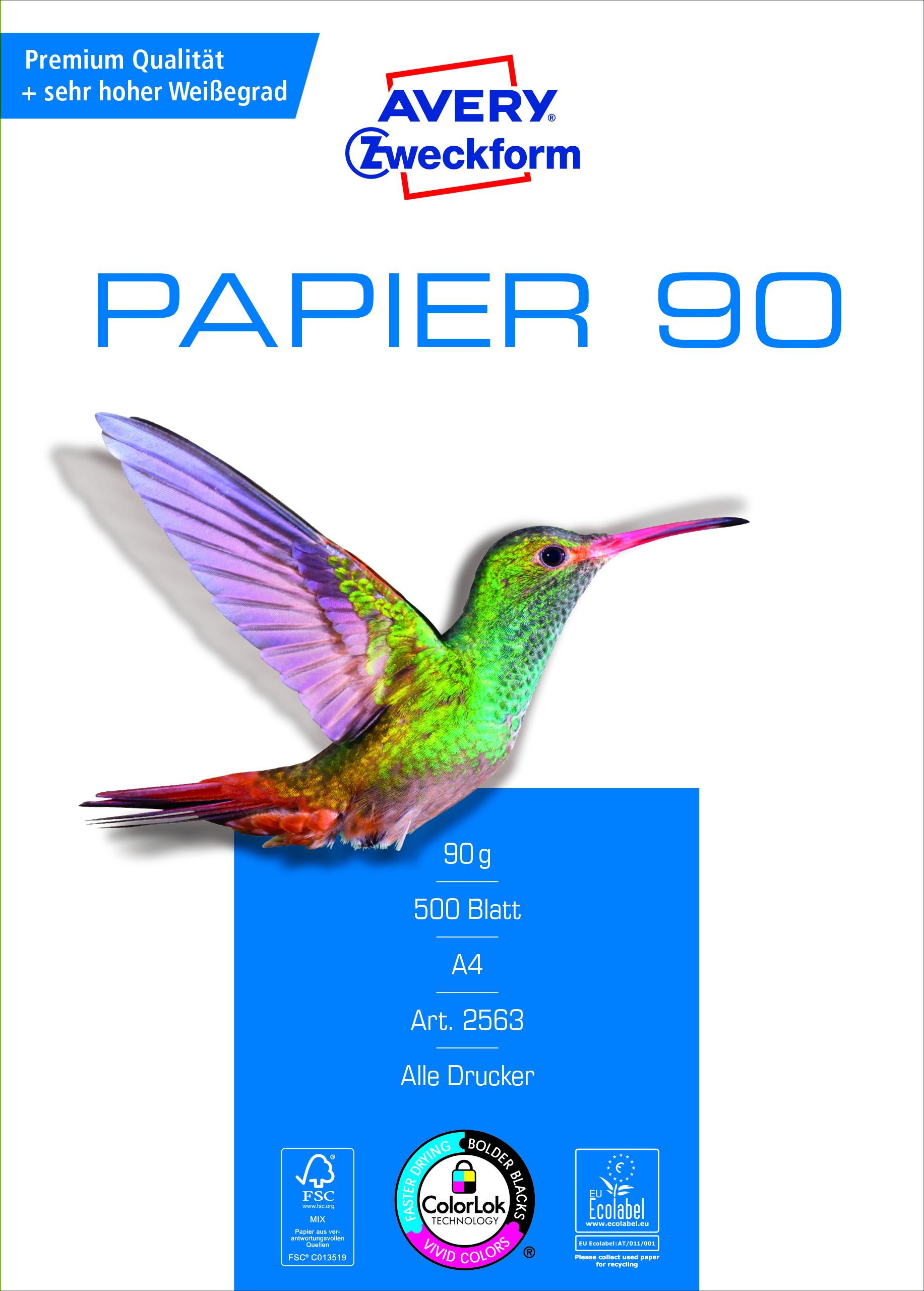 Avery Zweckform Papier 2563 - 90g/m² DIN-A4 500 Blatt weiß