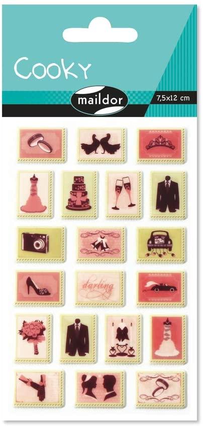 Maildor MALIDOR 17,5 x 9 x 0,1 cm Kunststoff Cooky Hochzeit Stempel Aufkleber