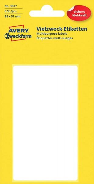 Avery Zweckform 3047 Haushaltsetiketten selbstklebend (98 x 51 mm, 6 Aufkleber auf 6 Bogen, Vielzwec