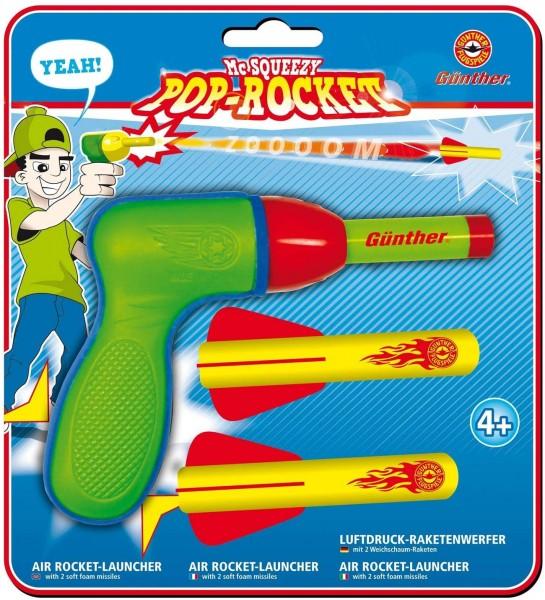 Paul Günther 1541 - Mc Squeezy Pop Rocket, Luftdruckraketenwerfer für Kinder mit 2 Weichschaumrakete