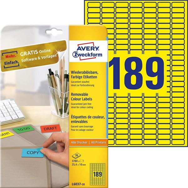 AVERY Zweckform L6037-20 Gelbe Etiketten (3.780 Aufkleber, 25,4x10mm auf A4, wieder rückstandsfrei a