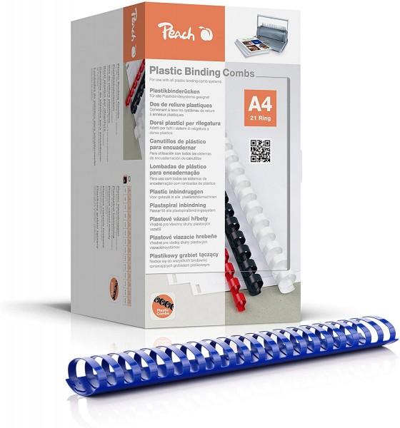 Peach PB450-04 Plastikbinderücken DIN A4, 50 mm, 500 Blatt, 50 Stück, blau