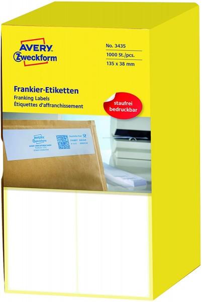 AVERY Zweckform 3435 Frankier-Etiketten (Papier matt, 1.000 Etiketten, 135 x 38 mm) 1 Pack weiß
