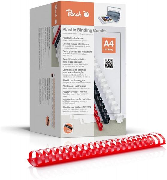 Peach PB450-03 Binderücken, Plastikbindung, DIN A4, Bindekapazität 500 Seiten, 50 Stück Rot