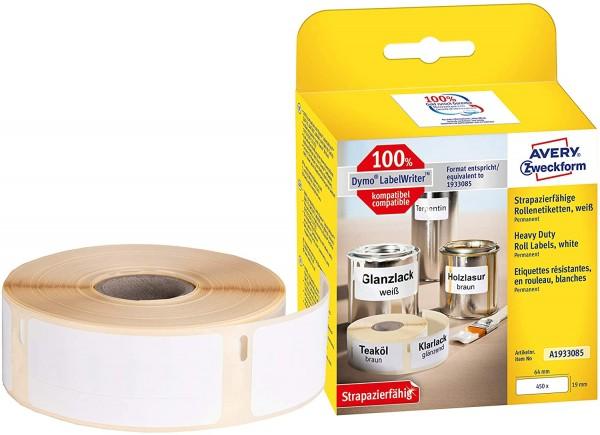 AVERY Zweckform A1933085 Folienetiketten extrem stark selbstklebend, 450 Aufkleber (19 x 64 mm, Komp