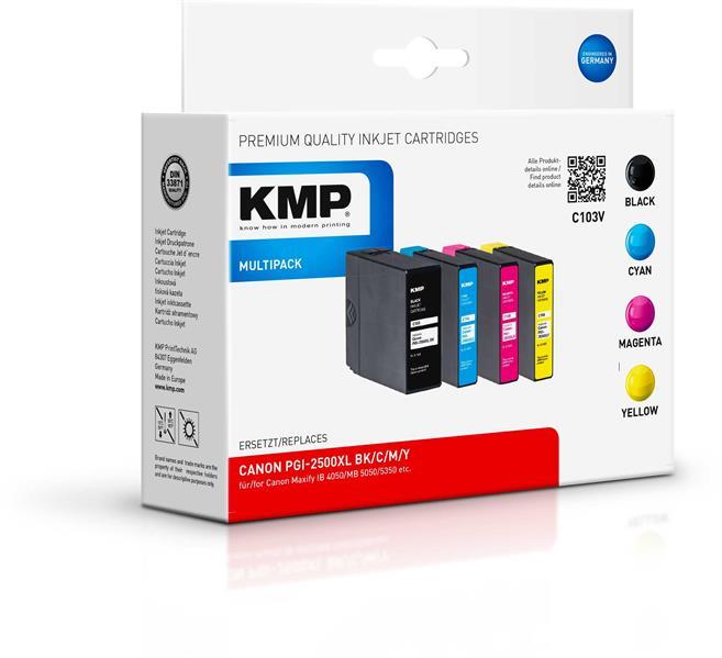 KMP Multipack C103V  komp. PGI-2500XL BK/C/M/Y für Canon Maxify IB 4050 etc.