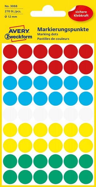 AVERY Zweckform 3088 selbstklebende Markierungspunkte 270 Stück (Ø12mm, Klebepunkte auf 5 Bogen, Pun